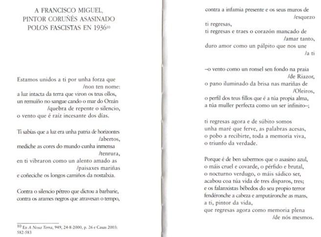 poema de fernan vello a francismo miguel